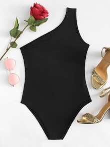 One Shoulder Skinny Bodysuit