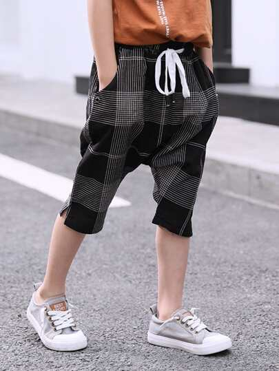 Boys Drawstring Waist Checked Harem Pants