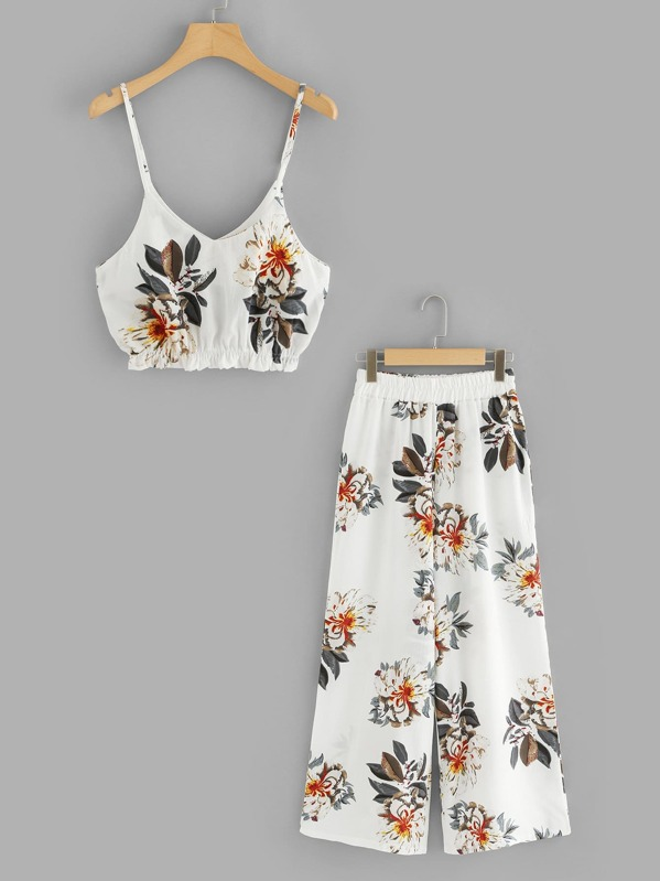 d7bfefa3071 Floral Print Crop Cami Top With Wide Leg Pants