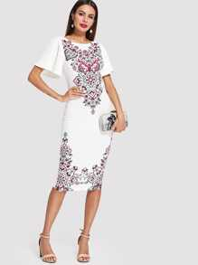 Flutter Sleeve Ornate Print Split Dress