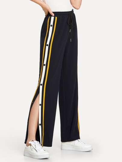 aa2199b0 Tape Button Side Wide Leg Pants | SHEIN