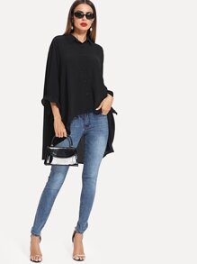 Ruffle Cuff Oversized High Low Shirt