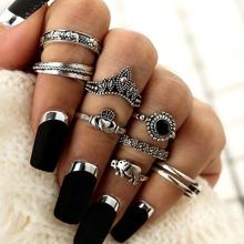 Elephant & Gemstone Rings Set 8pcs