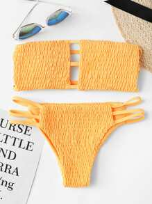 Shirred Bandeau With Ladder Cut Out Bikini Set