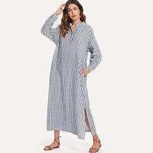 Hidden Pocket Split Side Longline Stripe Dress