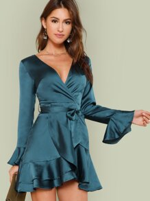 Split Back Tiered Ruffle Wrap Belted Dress