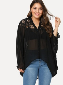 Plus Lace Insert Dolman Sleeve See Through Top