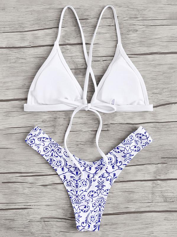 aa6cdfbe4c Tie Back Top With Porcelain Print Bikini Set   SHEIN
