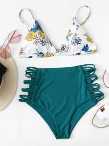 Cutout Crisscross Side Mixed & Match Bikini Set