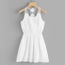 Solid Strappy Detail Halter Dress