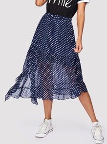 Ruffle Hem Split Side Polka Dot Skirt