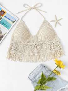 Fringe Hem Crocheted Halter Top