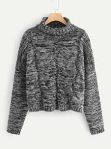 Marled Knit Cable Sweater