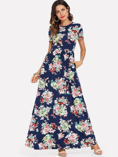 Vestido maxi con bolsillo lateral con estampado floral