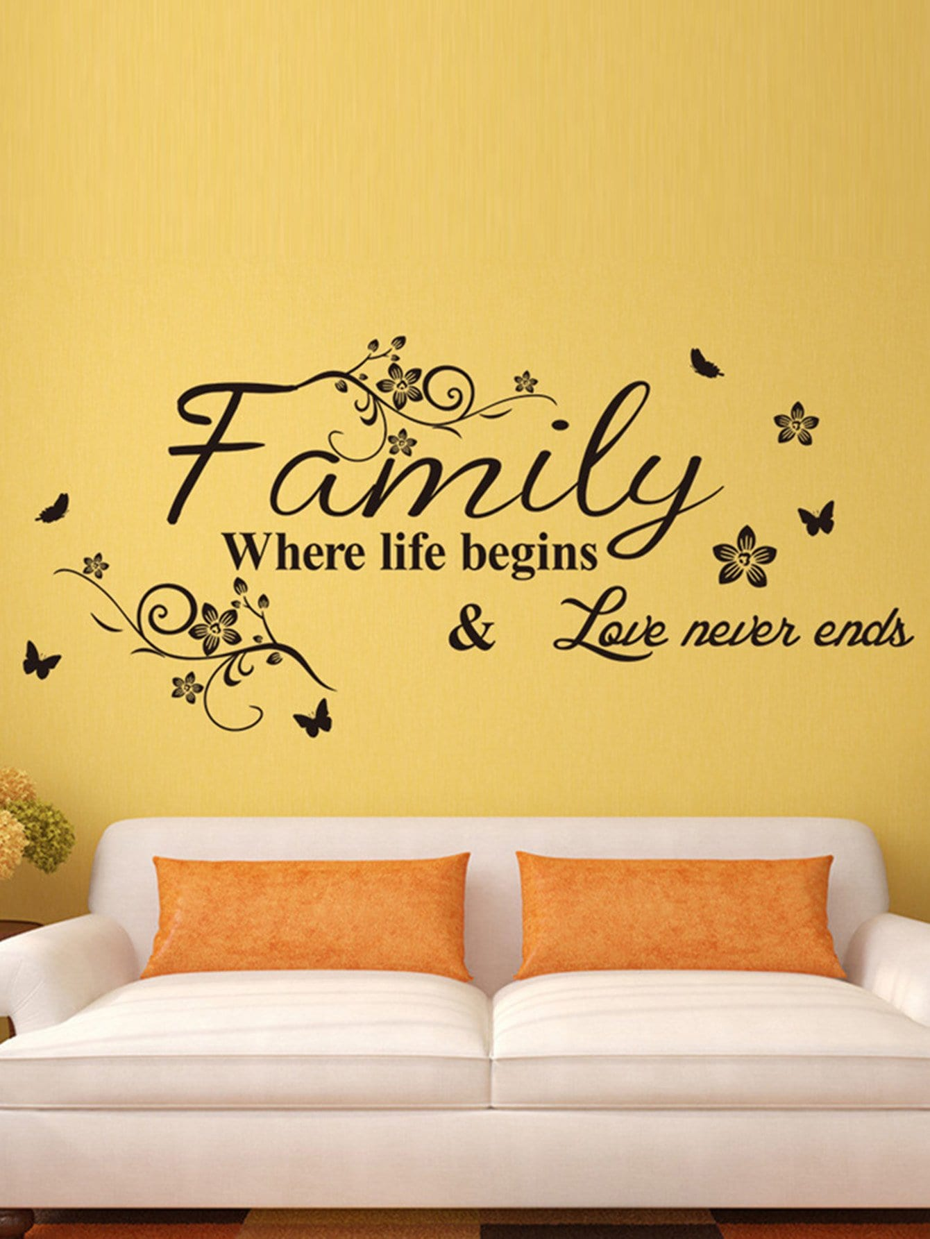 Slogan & Flower Print Wall StickerFor Women-romwe