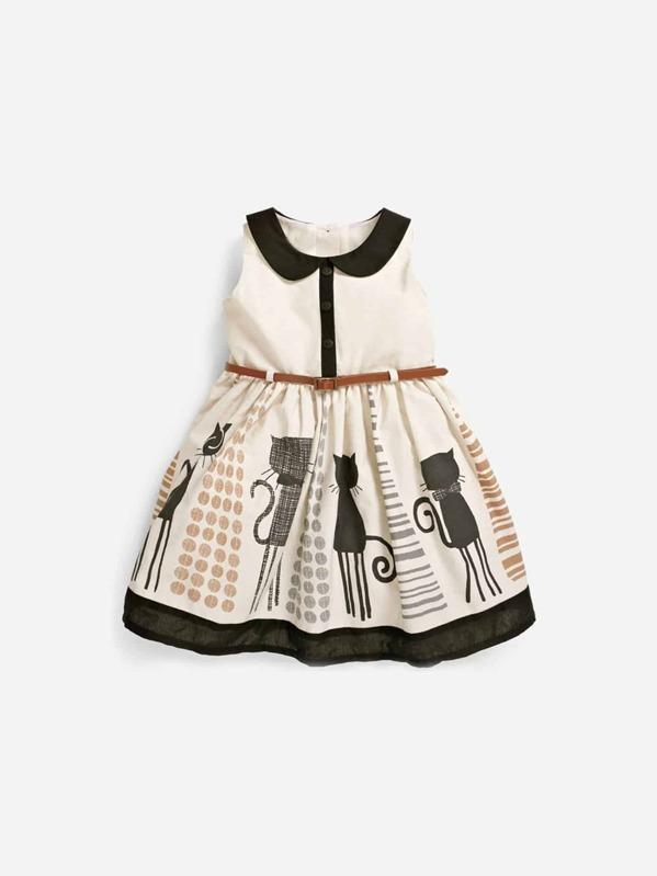 fc06f92a14489 Cheap Toddler Girls Cartoon Print Peter Pan Collar Dress for sale Australia