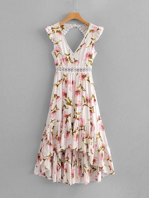 f52996155737f1 Lace Panel Open Back Dip Hem Dress | SHEIN UK