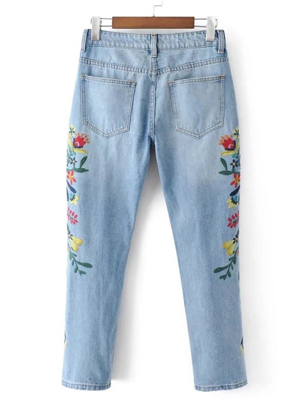 460ec81ee7 Flower Embroidered Jeans