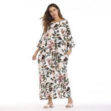 Leaf Print Hidden Pocket Longline Dress