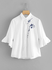 Flounce Sleeve Botanical Embroidered Shirt
