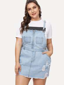Plus Zip Front Ripped Overall Denim Dress