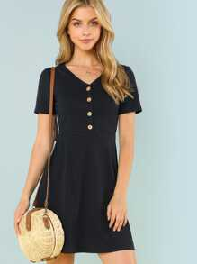 Button Up Ribbed Knit Dress SHEIN