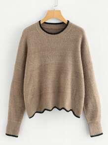 Contrast Binding Scalloped Hem Jumper