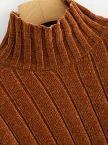 c66b27c9a454 High Neck Raw Hem Crop Sweater | SHEIN