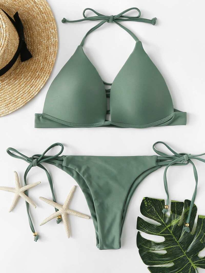 2817e3510804 Set de bikini con tira de cuello halter con lazo de talla grande