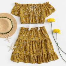 Off The Shoulder Flower Print Ruffle Crop Top With Skirts