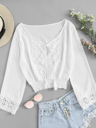 Lace Panel Tassel Tie Shirred Top