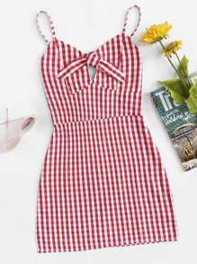 Knot Front Plaid Cami Dress