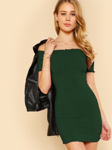 Lettuce Edge Detail Ribbed Bardot Dress SHEIN