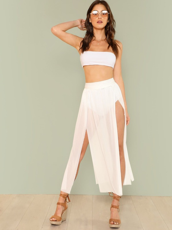 0c9e1d2fa089 Split Mesh Skirt Cover Up | SHEIN