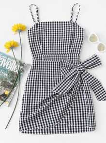 Knot Side Checked Cami Dress