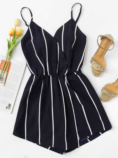 Vertical Striped Cami Romper