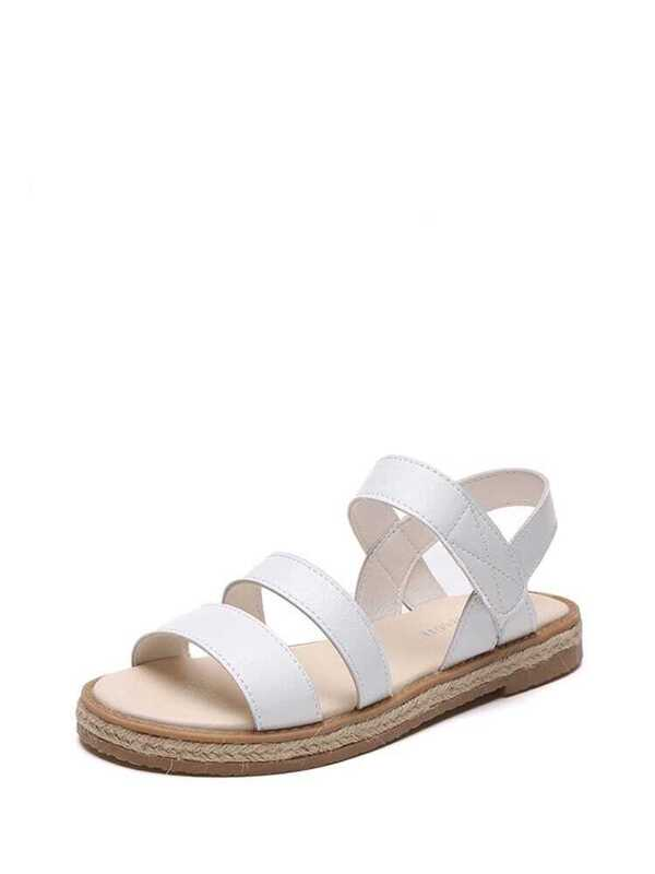 ad8485fba0812 Stitch Trim Espadrille Sandals -SheIn(Sheinside)