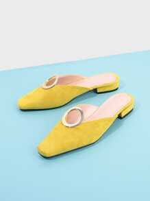 Ring Front Square Toe Suede Flats