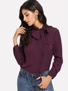 Tie Neck Button Through Chiffon Blouse