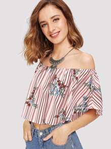 Stripe & Flower Print Crop Bardot Blouse