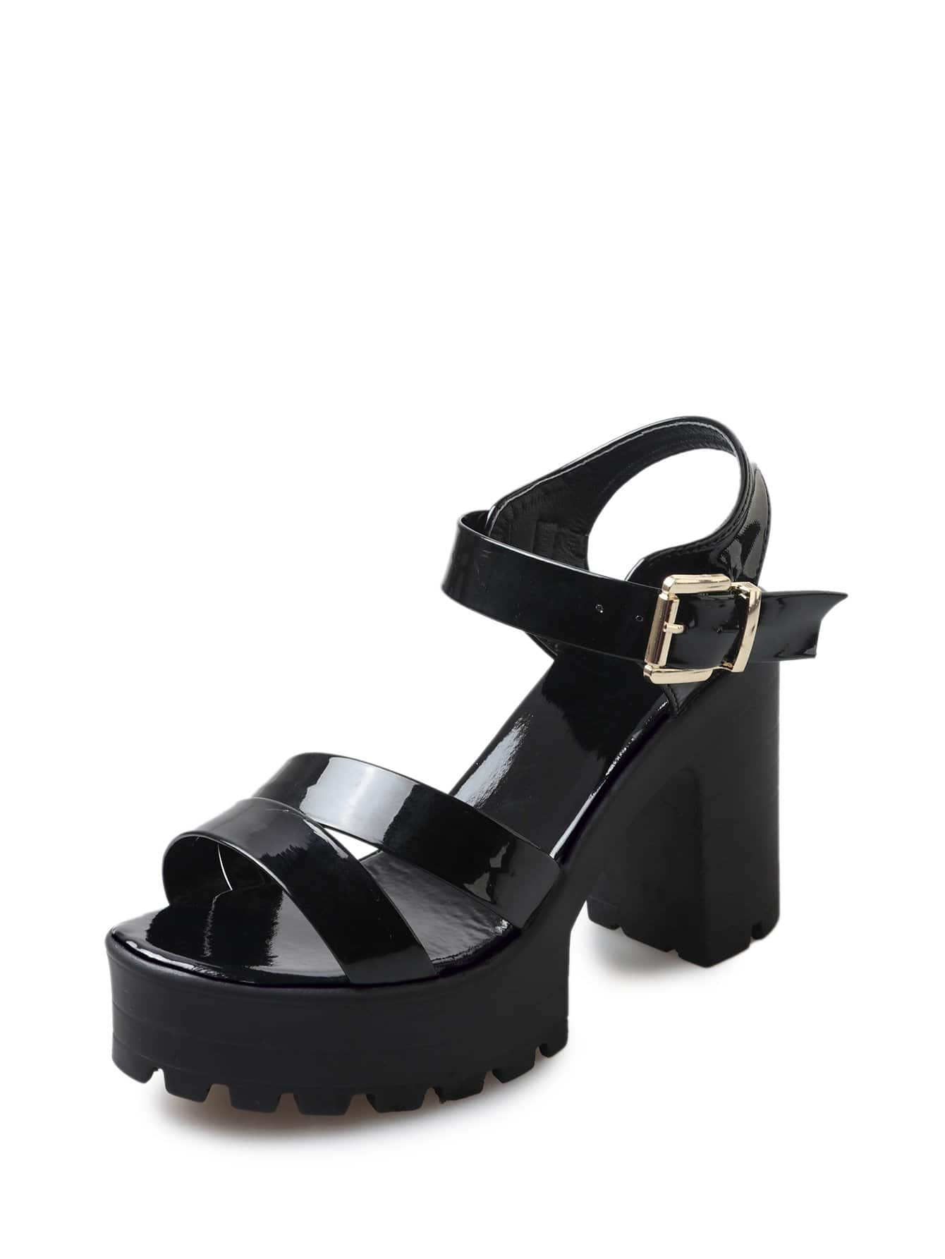dd98e1fdc857 Buckle Strap Platform Sandals EmmaCloth-Women Fast Fashion Online