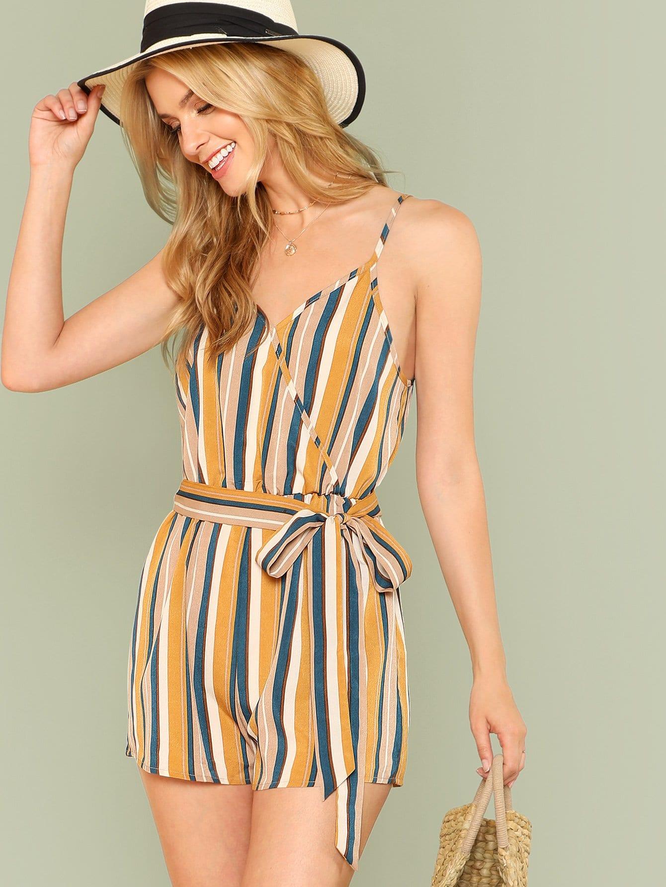 SHEINElastic Waist Striped Wrap Cami Romper