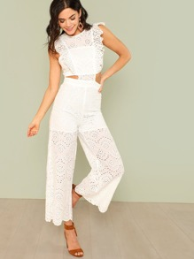 Eyelet Embroidery Wide Leg Ruffle Jumpsuit