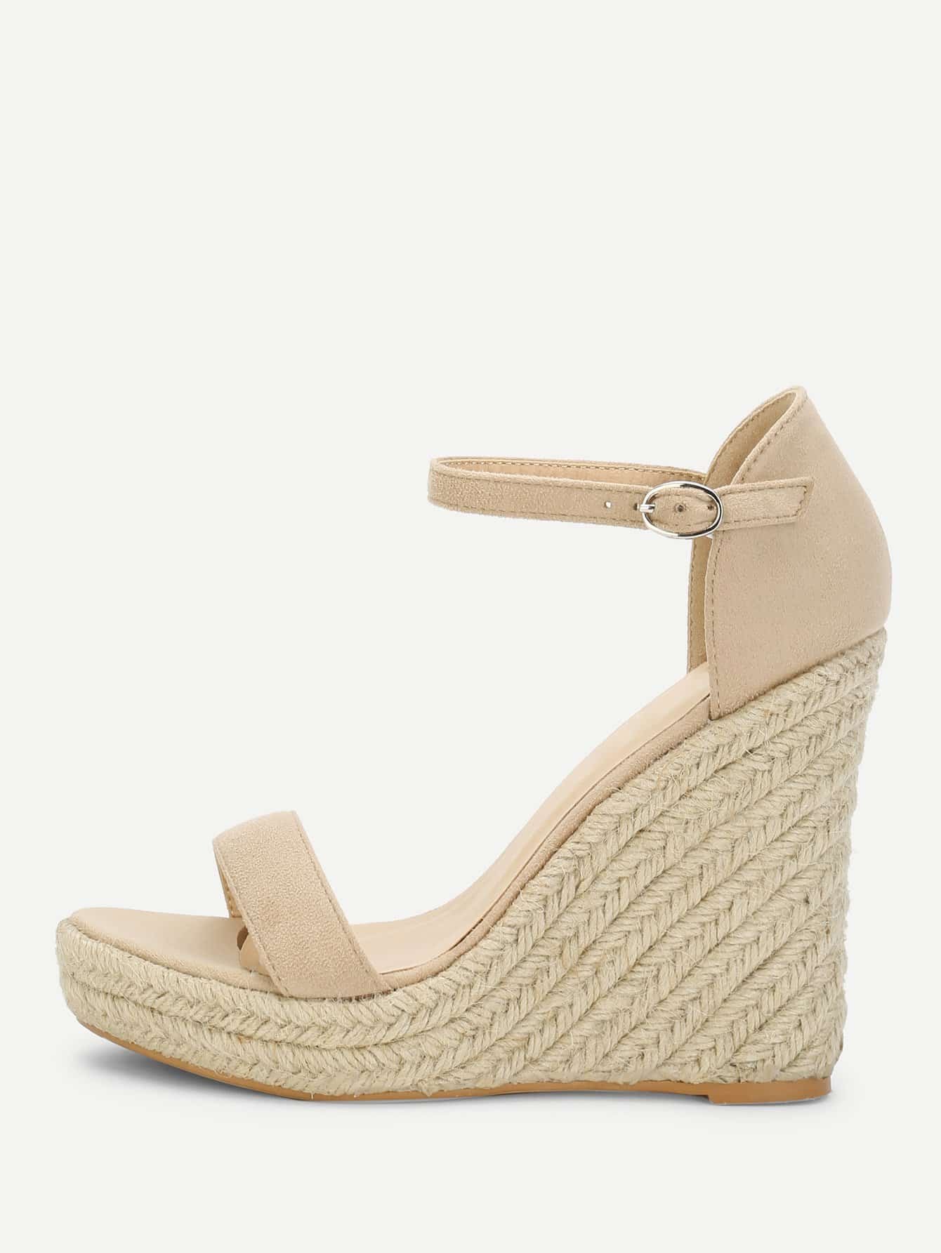 7b2f79bcd2d Two Part Espadrille Wedge Sandals