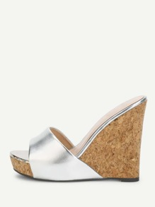 Platform Metallic Wedge Mules