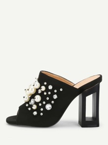 Faux Pearl Decorated Chunky Heeled Mules