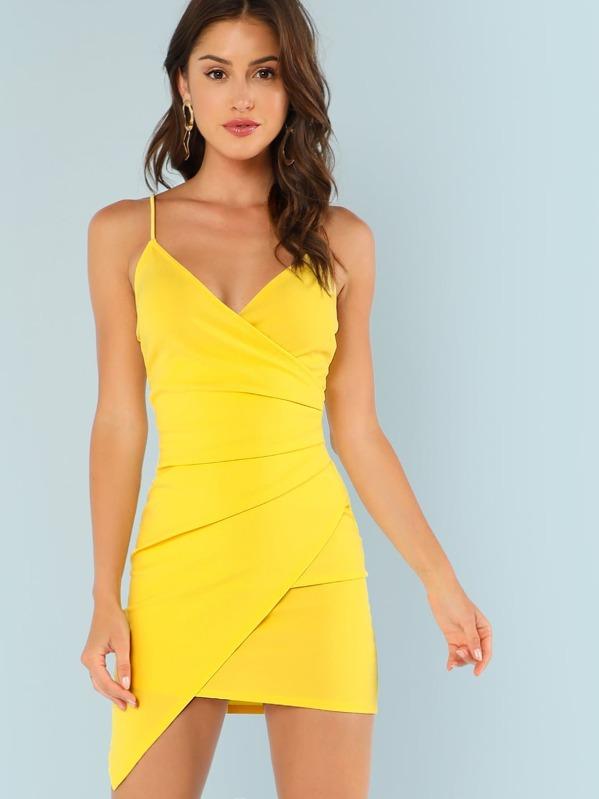 35cb735e81 Surplice Ruched Asymmetrical Hem Cami Dress