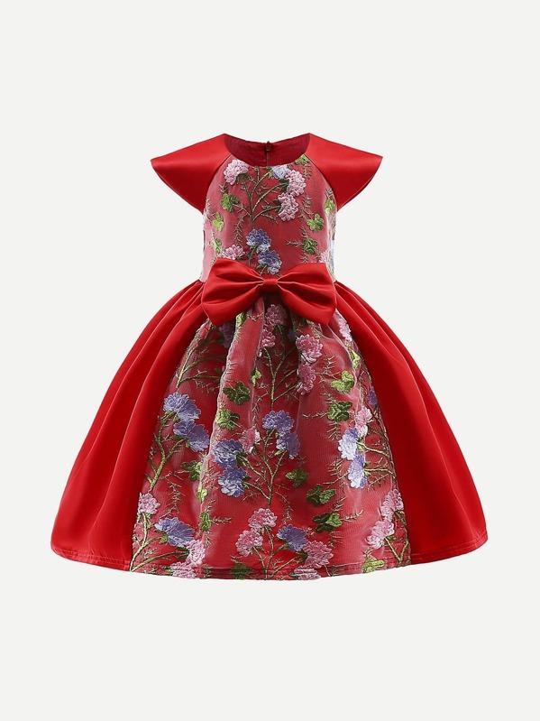 0037d2954 Vestido de contraste de encaje bordado de flores para niños