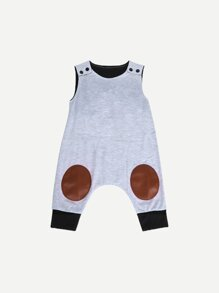 Toddler Boys Patch Contrast Hem Jumpsuit