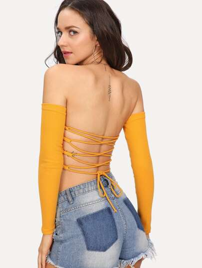 Bardot Lace Up Back Crop Tee
